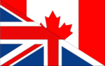 (diagonally split Canadian/British flag)